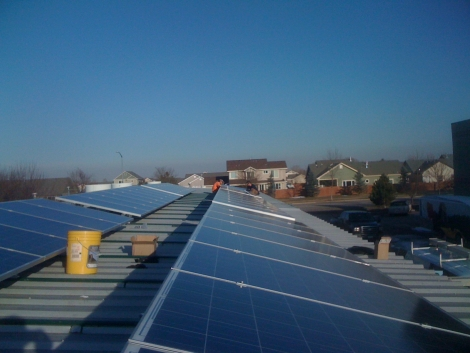 Solar array on a commercial building outputs 9.6 kW