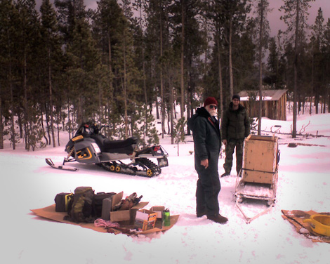 Loading up the generator, electrician, and electrical supplies for the trip back.